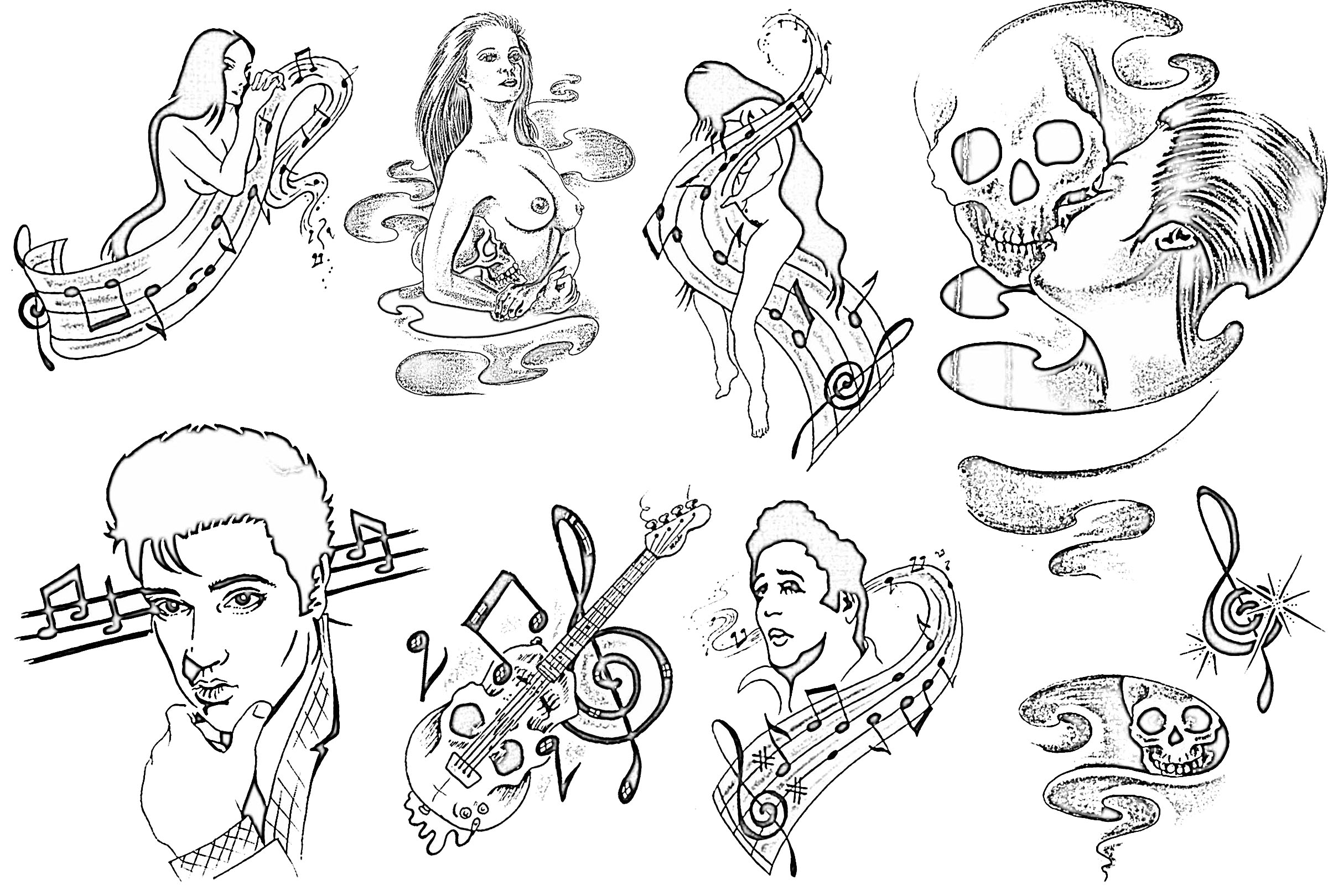 Tattoo Outline: Sketches With Outlines Sheet 213 Copy